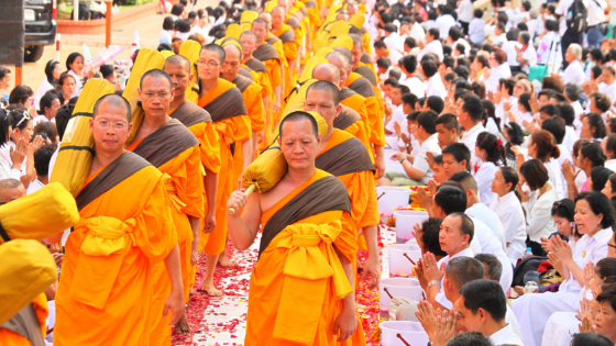thai monks in a ceremony