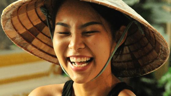 a laughing thai girl