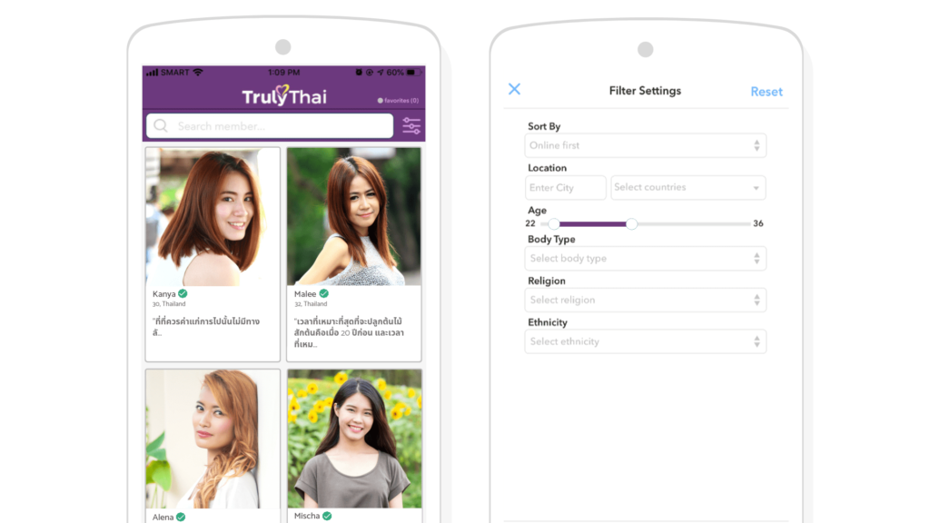 TrulyThai app browse and search feature